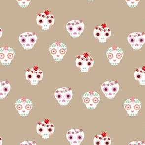 Boho dia de los muertos skulls with lush flowers and leaves Mexican halloween design pink red white green on neutral beige latte