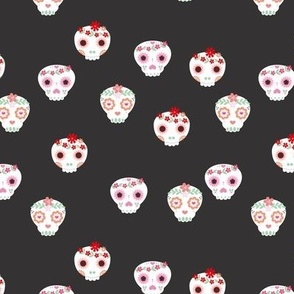 Boho dia de los muertos skulls with lush flowers and leaves Mexican halloween design pink red white green on neutral charcoal gray
