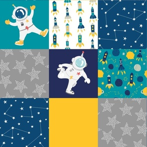 astronauts in space cheater quilt