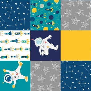 astronauts in space cheater quilt rotated
