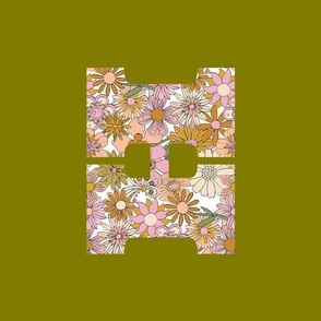 Chelsea Initial H Tea Towel / Wall Hanging || letter alphabet boho bohemian flowers floral cut and sew home decor diy kitchen earth tones