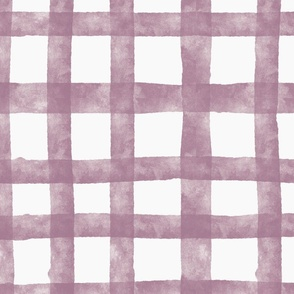 wobbly watercolor check - plum