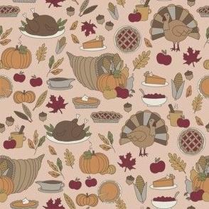 Thanksgiving dinner fabric - thanksgiving, turkey, holiday, American