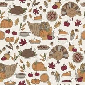 Thanksgiving dinner fabric - thanksgiving, turkey, holiday, American - cream