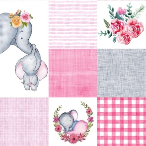 Baby girl elephant cheater quilt