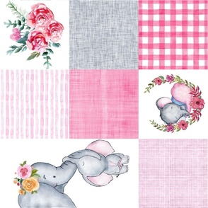 Baby girl elephant cheater quilt  rotated