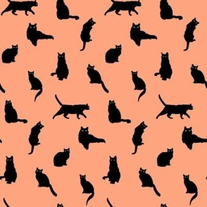 Small Black Cats Silhouettes Halloween