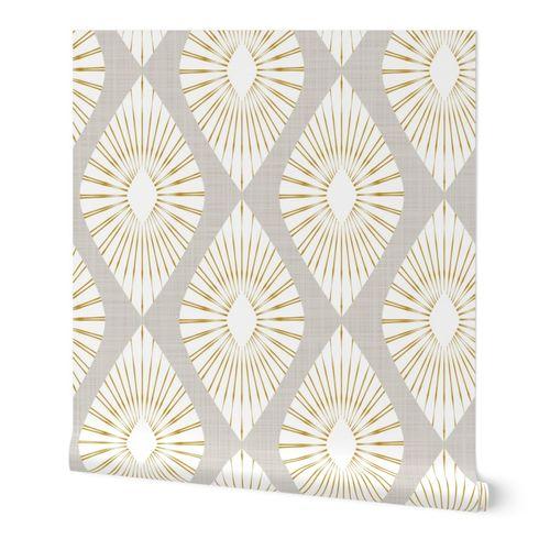 neutral geometric retro large scale on faux linen texture