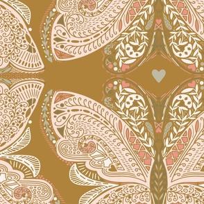 large Beautiful Butterfly in ochre