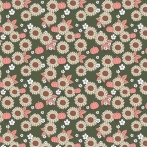 Pumpkin patch and sunflower field boho garden design olive blush pink beige SMALL