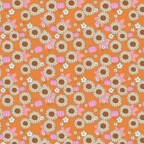 Pumpkin patch and sunflower field boho garden design burnt orange pink beige SMALL