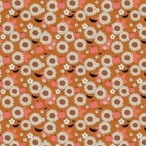 Sunflowers field and pumpkin patch boho garden fall blossom and bats halloween design burnt orange pink beige SMALL