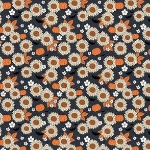 Sunflowers field and pumpkin patch boho garden fall blossom and bats halloween design navy blue orange beige SMALL