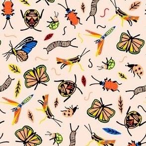 Small Retro Bugs in color bright blue and orange