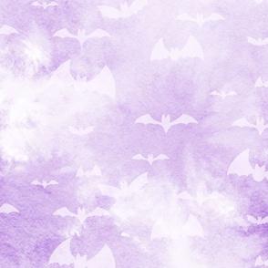 bats take flight - bright purple
