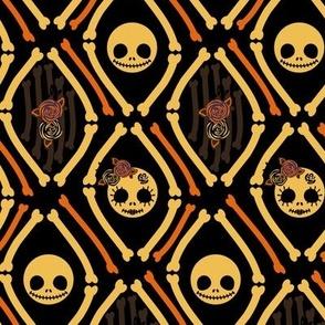Mr & Mrs Skeleton Cameo Orange & Purple