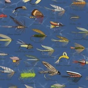 Fishing Flies Small Scale\\Men's Fabric\\Navy