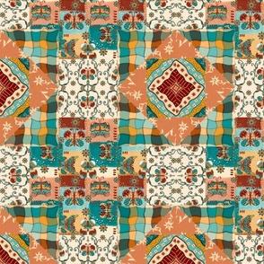 Folk Art Butterflies cheater quilt