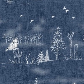 Winter Forest Toile, White on Midnight Blue (xl scale)   Forest fabric, snow, nature, woodland trees, Christmas fabric, hand drawn wildlife: fox, moose and owl.