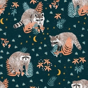 Raccoons at night in the forest watercolor woodland nocturnal animals fireflies moon mushrooms flowers