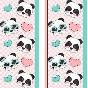 Pandas Pink Mint Hearts