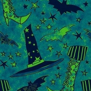 Watercolored Witch Gear Green & Blue