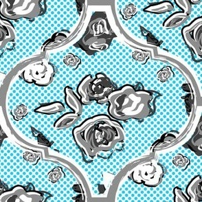 Maximalist Blue White Ogee Floral