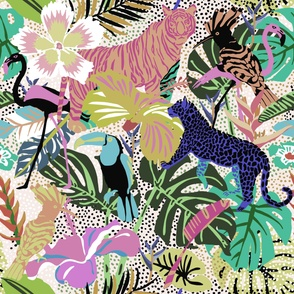 Giant Jungle Tropical Animals and Birds in muted colors