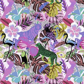 Tropical Jungle Animals and Birds in purple colors