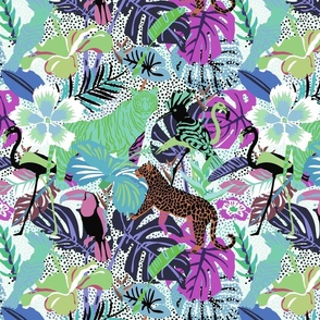 Tropical Jungle Animals and Birds in green and purple colors