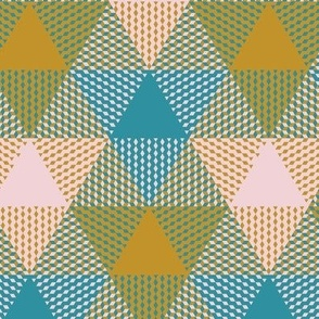 triangle plaid in mustard yellow, lagoon teal and cotton candy pink