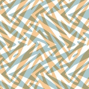 feather zigzag plaid in light blue and peach