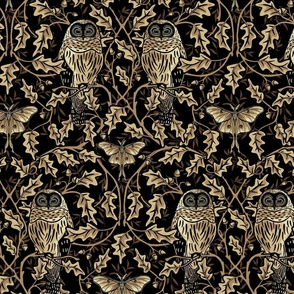 Owl In The Oak - Gold - Large