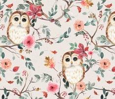 Owls tree watercolor Green red Rustic beige Medium