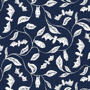 Bat Forest - cute bats among leaves - textured navy and white - medium