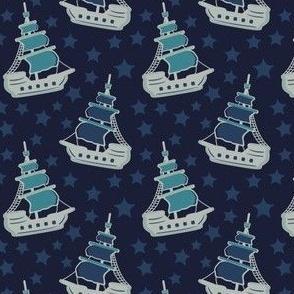 Pirate Ships & Stars Blue