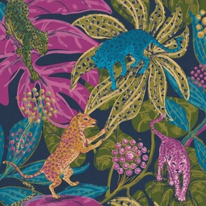 Nocturnal Fantasy Colorful Leopards