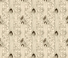 Owl Woods sketch in brown