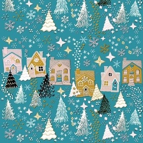 Joyful Houses on a Cozy Winter village night