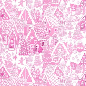 Candy Land Gingerbread House Toile in pink and white