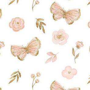 Pink and gold butterflies medium