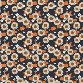 Sunflowers field and pumpkin patch boho garden fall blossom halloween design navy blue orange beige SMALL