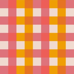 Coral and carrot gingham check pattern