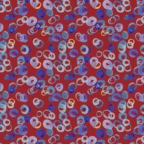 Watercolor Circles (small burgundy)
