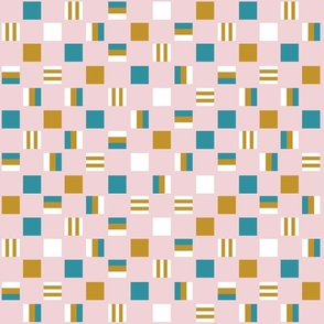 Liquorice allsorts - one-inch  squares in mustard, lagoon,  and white on cotton candy pink