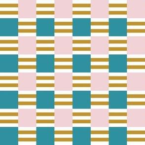 Liquorice Allsorts square stripes in  mustard, lagoon,  cotton candy and white