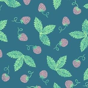 pastel strawberries on dark teal