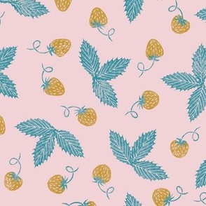 rubberstamped strawberries - mustard and lagoon  on cotton candy pink