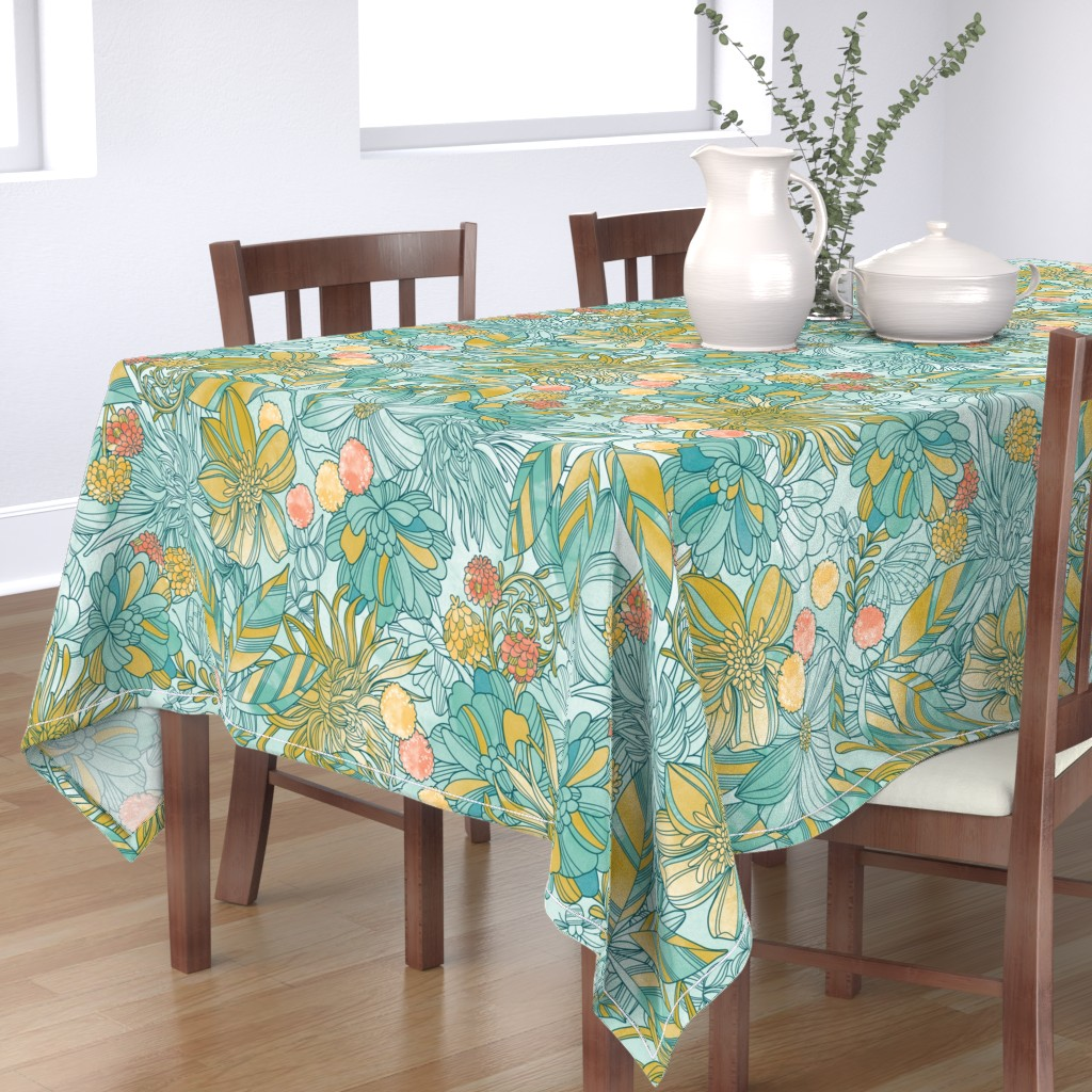 Bantam Rectangular Tablecloth featuring Garden at twilight (pale background) by cjldesigns