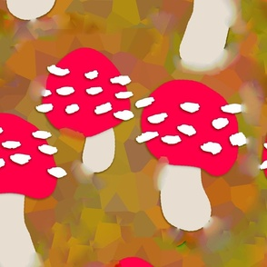 Red Shrooms Among Fall Leaves (full sized)